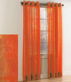 Crystal Crushed Grommet Sheer Panel (Orange)
