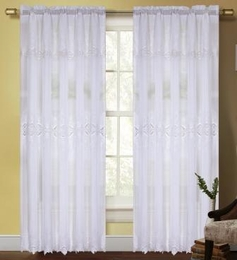 Dacia Curtain with Macrame Pattern (White)