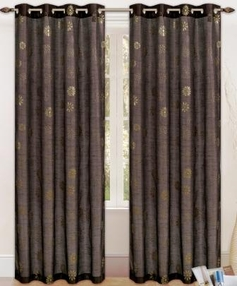 Daisy Printed Grommet Curtain (Brown)