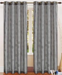 Daisy Printed Grommet Curtain (Grey)