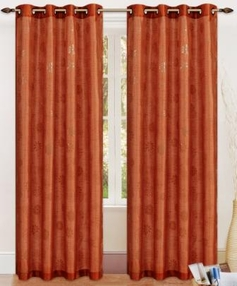 Daisy Printed Grommet Curtain (Rust)