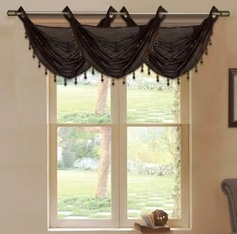 Daisy Printed Waterfall Valance (Brown)