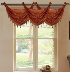 Daisy Printed Waterfall Valance (Rust)