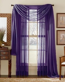 Dark Purple Sheer  Curtain Scarf [Available June 22nd]