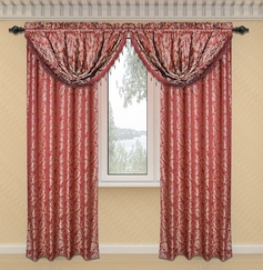 Dawson Printed Valance with Lurex Accents (Burgundy)