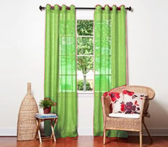 Doli Lime Green Grommet Sheer Panels (Set of 2)