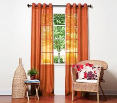Doli  Orange Grommet Sheer Panels (Set of 2)