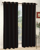 Elaine Faux Silk Grommet Panel (Black)
