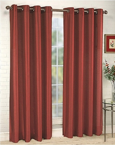 Elaine Faux Silk Grommet Panel (Burgundy)