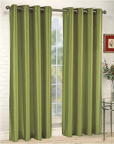 Elaine Faux Silk Grommet Panel (Lime Green)