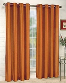 Elaine Faux Silk Grommet Panel (Orange)