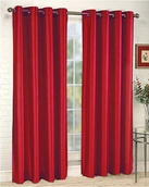 Elaine Faux Silk Grommet Panel (Red)