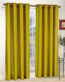 Elaine Faux Silk Grommet Panel (Yellow)