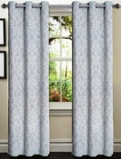 Elinor Linen Blend Jacquard Curtain  Set of 2 (Light Blue)