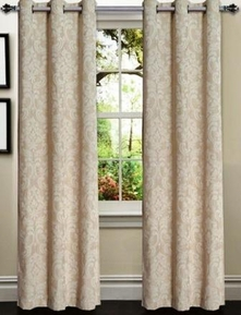 Elinor Linen Blend Jacquard Curtain  Set of 2 (Ivory)