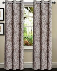 Elinor Linen Blend Jacquard Curtain  Set of 2 (Caribou Linen)