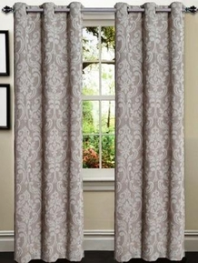 Elinor Linen Blend Jacquard Curtain  Set of 2 (Taupe)