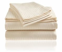 Embossed Dobby Stripe Sheet Set (Beige/Ivory)