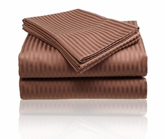 Embossed Dobby Stripe Sheet Set (Chocolate Brown)