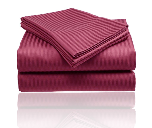 Embossed Dobby Stripe Sheet Set (Burgundy)
