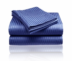 Embossed Dobby Stripe Sheet Set (Navy Blue)