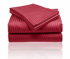 Embossed Dobby Stripe Sheet Set (Brick Red)