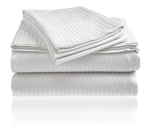 Embossed Dobby Stripe Sheet Set (White)