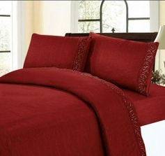 Embroidered Sheet Set (Burgundy)