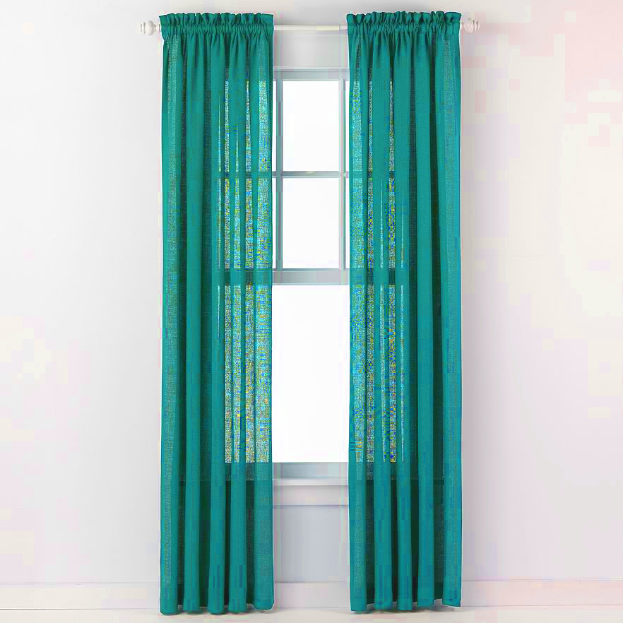 Emerald Crepe Curtain Panel (Aqua)