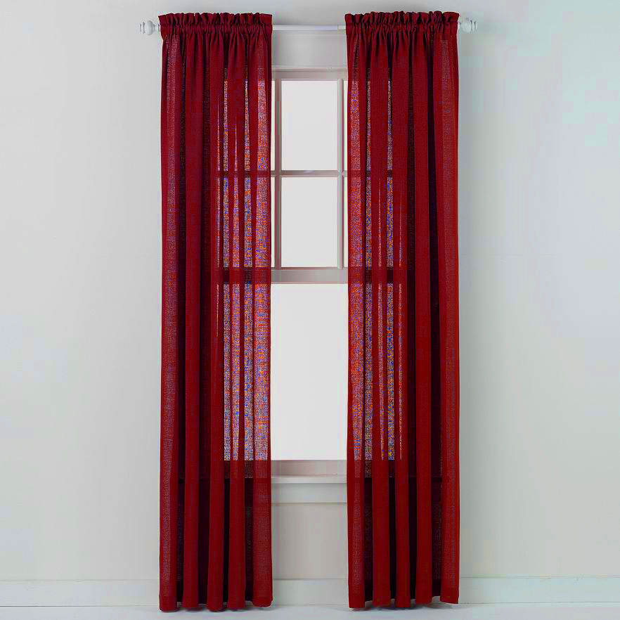 Emerald Crepe Curtain Panel (Brick/ Burgundy)