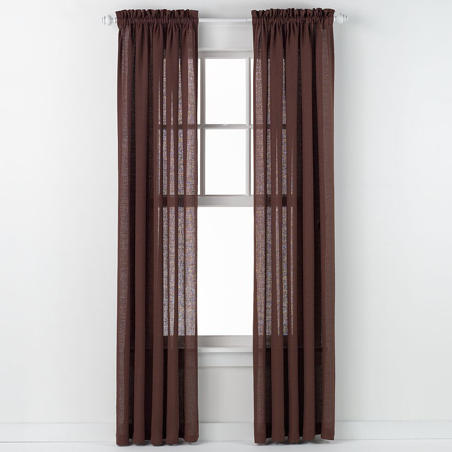 Emerald Crepe Curtain Panel (Brown)