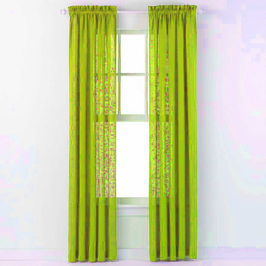 Emerald Crepe Curtain Panel (Lime Green)