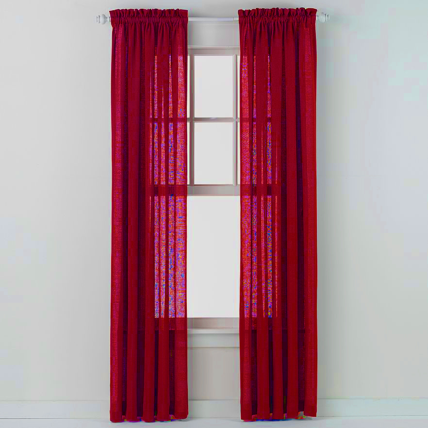 Emerald Crepe Curtain Panel (Red)