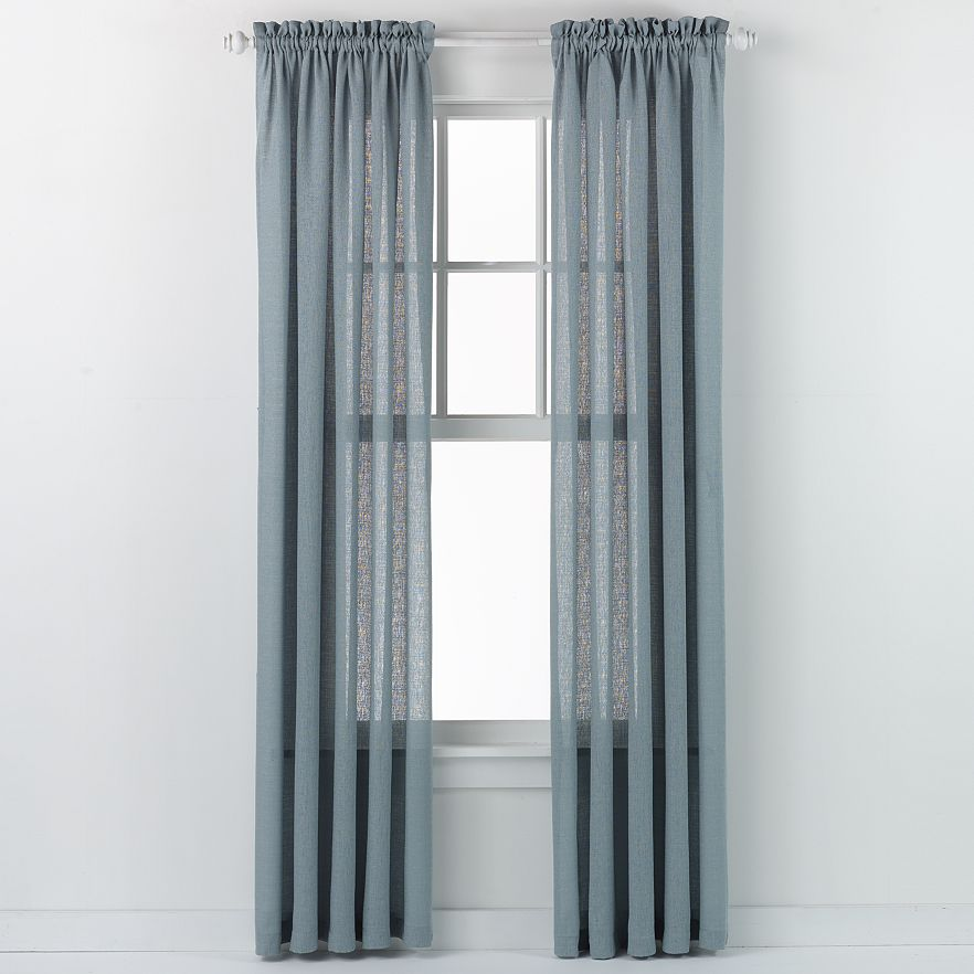 Emerald Crepe Curtain Panel (Slate Blue)