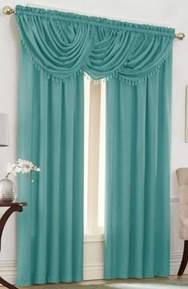 Emerald Crepe Curtain Set (Aqua)