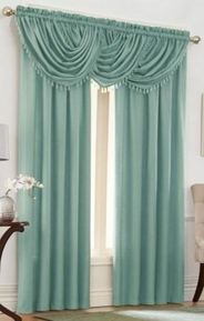 Emerald Crepe Curtain Set (Blue)