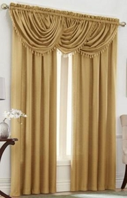 Emerald Crepe Curtain Set (Gold)