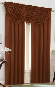 Emerald Crepe Curtain Set (Terracota Orange)