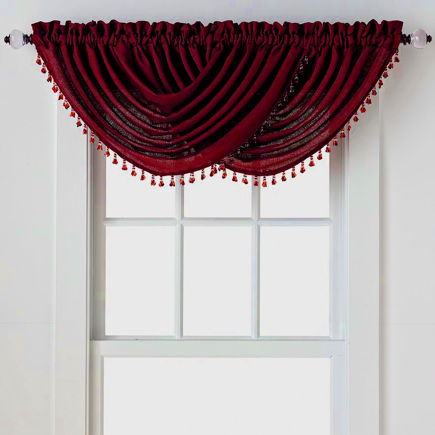Emerald Crepe Waterfall Valance (Brick Burgundy)