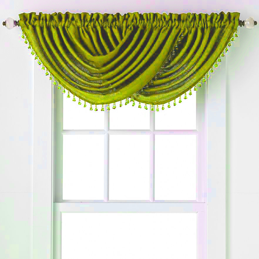 Emerald Crepe Waterfall Valance (Lime Green)