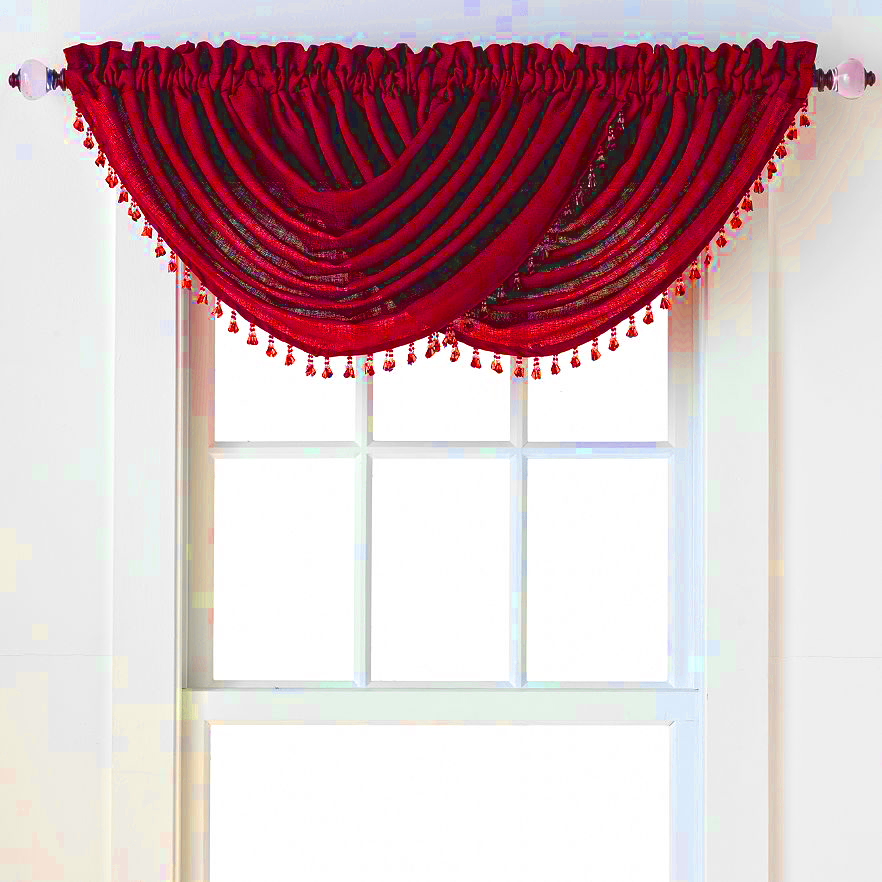 Emerald Crepe Waterfall Valance (Red)