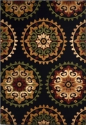 Evolution Circle Flowers Area Rug (Black)