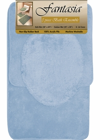 Fantasia 3 Piece Bath Rug Set (Light Blue)
