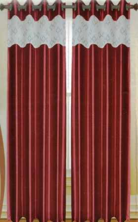 Felicity Faux Silk Grommet Curtain with Sheer Emboidery Top (Burgundy)