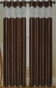 Felicity Faux Silk Grommet Curtain with Sheer Emboidery Top (Chocolate Brown)