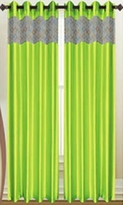 Felicity Faux Silk Grommet Curtain with Sheer Emboidery Top (Lime)