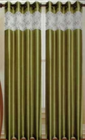 Felicity Faux Silk Grommet Curtain with Sheer Emboidery Top (Sage Green)