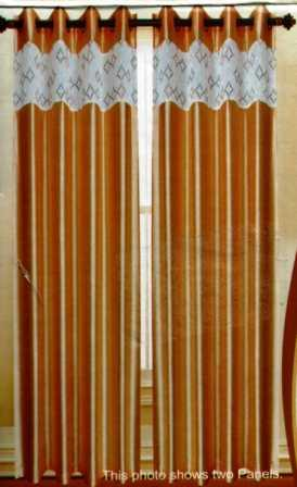 Felicity Faux Silk Grommet Curtain with Sheer Emboidery Top (Soft Gold)