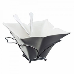 Fiori Salad Bowl Rack and Servers