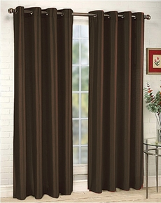 Ana Woven Blackout Panels - Chocolate Brown